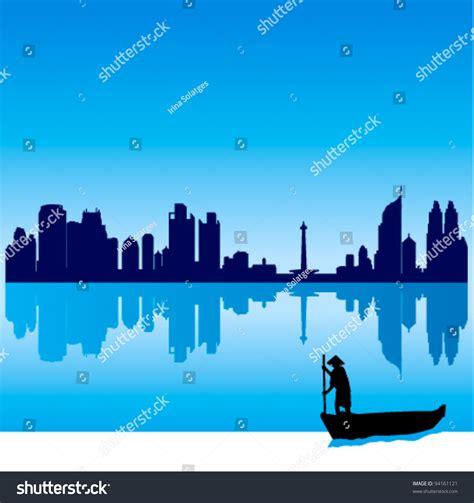 indonesia detailed skyline vector illustration stock detailed vector jakarta silhouette skyline with