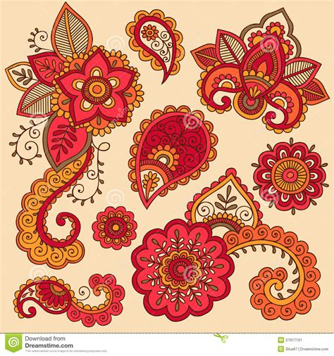 henna colorful mehndi tattoo doodles vector stock vector