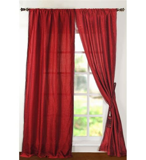 pepperfry curtains deco window lazer satin burgundy 8ft door curtain by deco