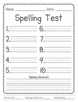 spelling test template 10 words the world s catalog of ideas