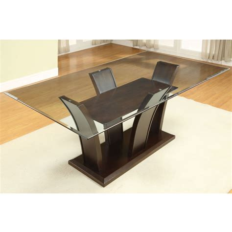 Dining Room Table Glass Top Wood Base Glass Dining Room Table Bases Marceladick