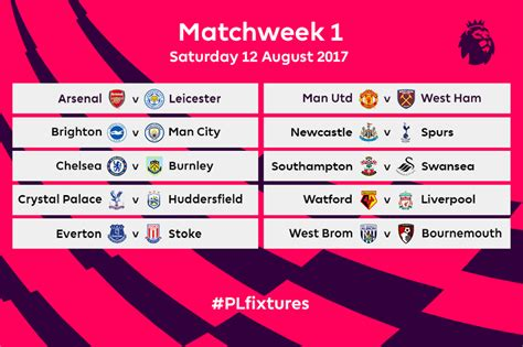 epl table 2017 18 premier league fixtures for 2017 18 released