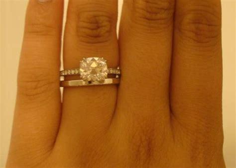 plain wedding band with band engagement ring