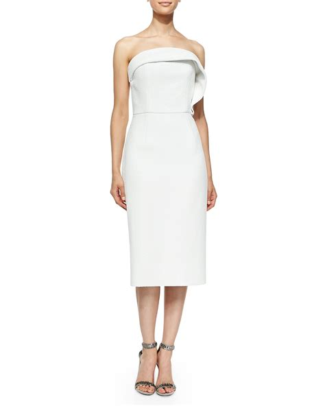 draped cocktail dress christian siriano draped ruffle cocktail dress in white lyst