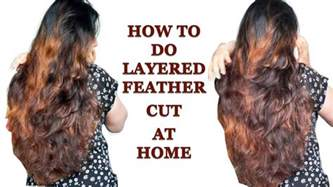 how to cut hair do that sides feather back on how to do layered feather cut at home in hindi youtube
