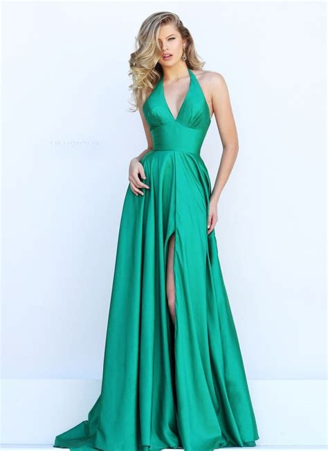 simple halter high slit long emerald green satin evening