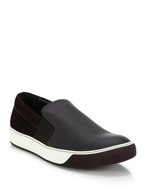mens leather slip on sneakers lyst lanvin leather suede slip on sneakers in black
