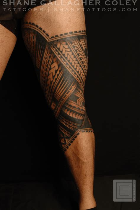 polynesian tribal leg tattoo designs shane tattoos polynesian leg tatau