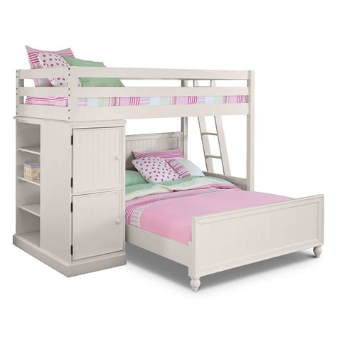 Colorworks Loft Bed With Full Bed White American Furniture Beds