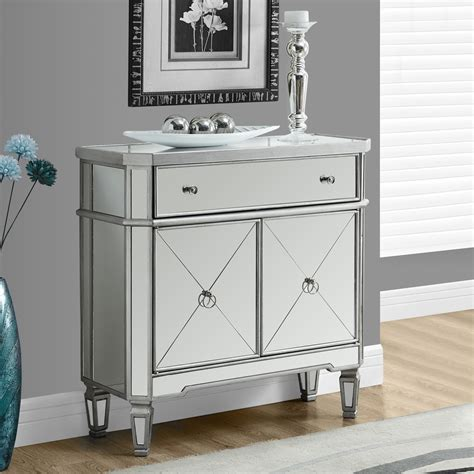 mirrored accent cabinet mirrored dresser in brushed silver best storage cabinets
