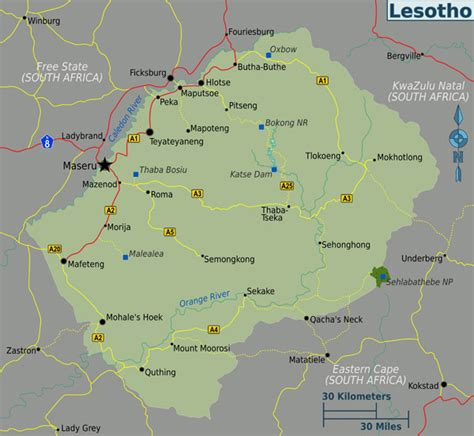 lesotho map political map of lesotho lesotho political map vidiani maps of all countries