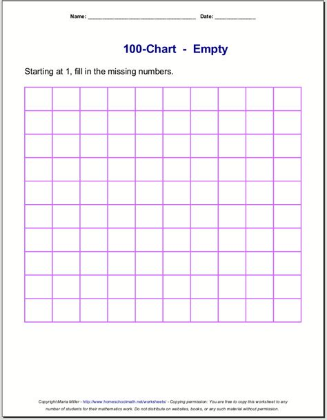 Find 100 Free Blank Hundred Chart Printable Free New Calendar Template Site