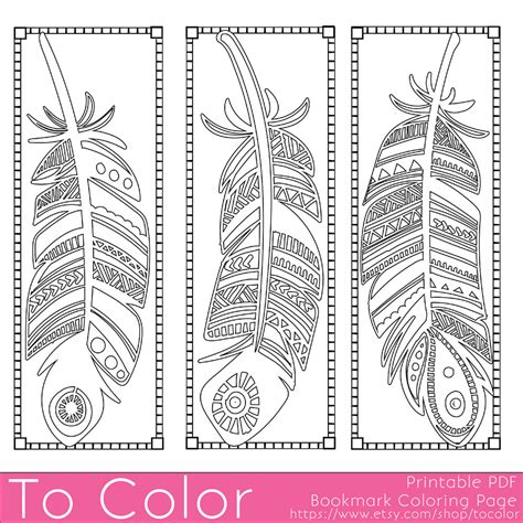 printable bookmarks for young adults feathers coloring page bookmarks this is a printable pdf
