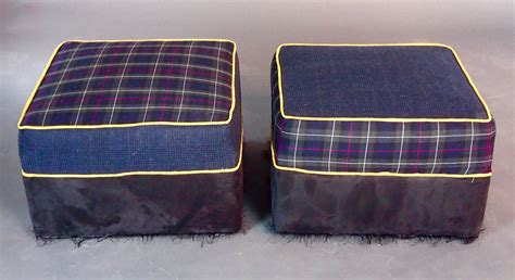 plaid ottoman large upholstered ottomans navy plaid for sale at 1stdibs