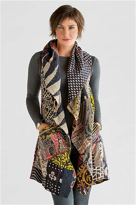 Patchwork Waistcoat - kantha patchwork vest by mieko mintz cotton vest