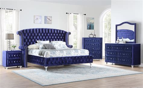 bedroom metallic blue velvet bed golden woods furniture