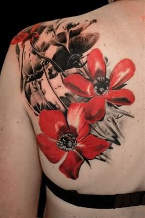 black and red tattoo style 60 well formed poppy tattoos on back