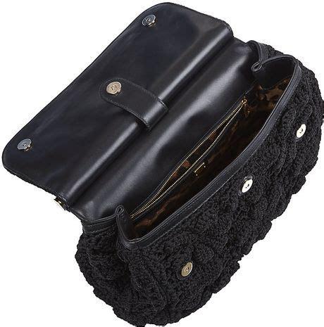 dolce gabbana miss sicily classic crochet bag in black
