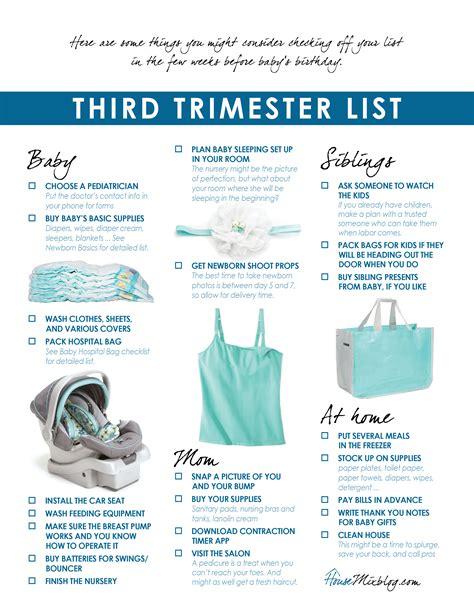 printable pregnancy to do list third trimester checklist house mix