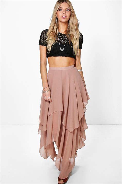 boohoo womens ruffle hem high low maxi skirt ebay