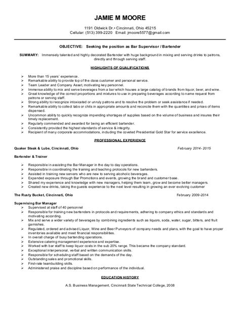 bartending resume out of darkness