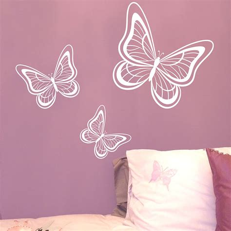 wall butterfly stickers set of three butterflies wall sticker by nutmeg