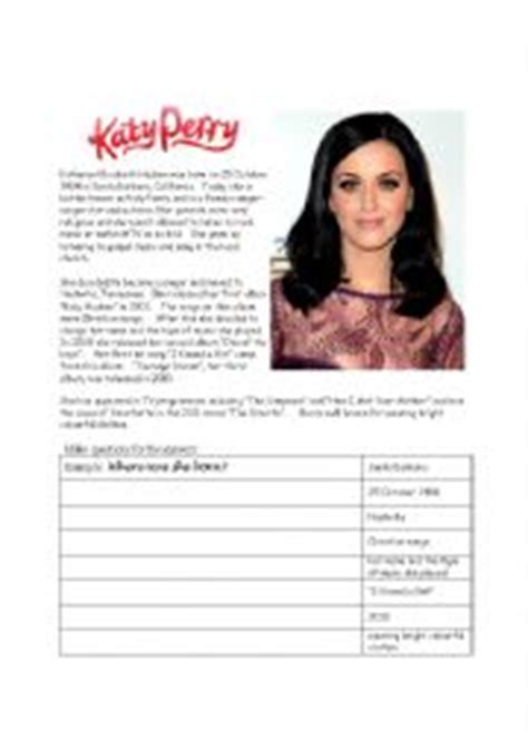 katy perry biography esl english teaching worksheets katy perry
