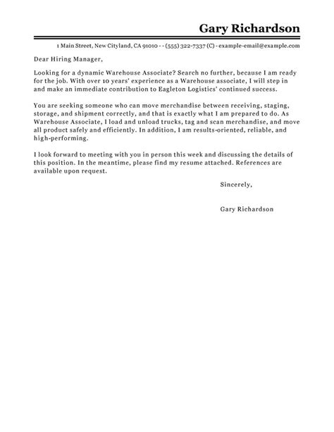 Warehouse Cover Letter by Leading Professional Warehouse Associate Cover Letter Exles Resources Myperfectcoverletter