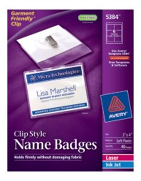 avery 5384 template top loading insertable name badges