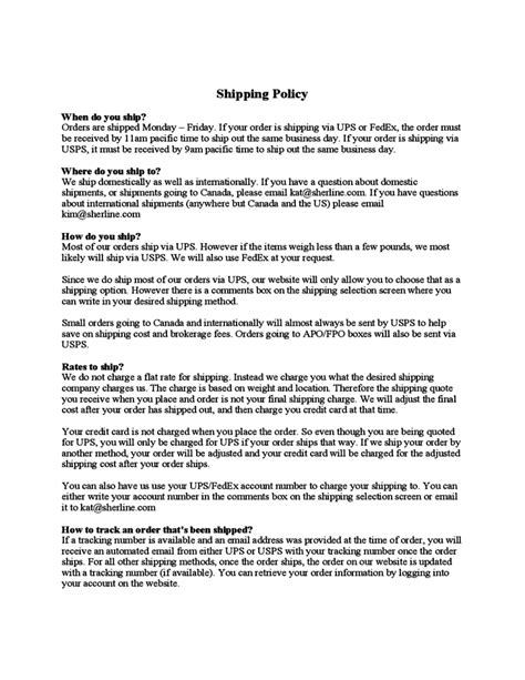 shipping policy template shipping policy sherline free