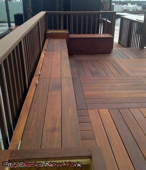 wood bench designs for decks brazilian ipe wood deck by city decks new york llc www