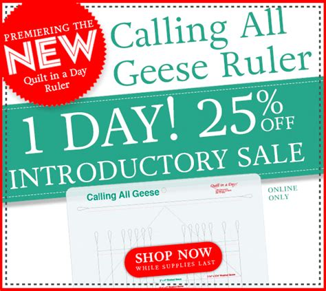 Calling All Sale by New Calling All Geese Ruler One Day Introductory Sale