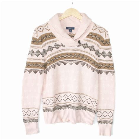 pink nordic pattern shawl collar light pink nordic ugly ski sweater the ugly