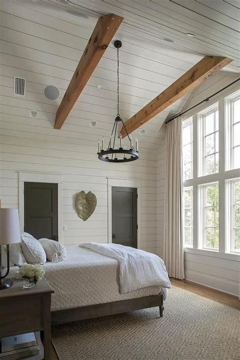 cottage bedroom  gray shiplap vaulted ceiling features