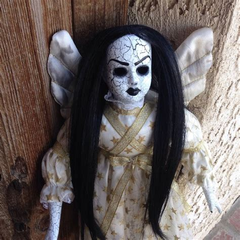 black doll horror black hair crackled creepy horror doll by