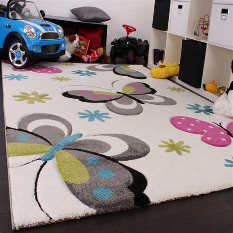 teppich kinderzimmer einfarbig kinder teppich schmetterling design pink gr 252 n blau grau