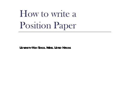 How To Make Position Paper - coming to america position papers