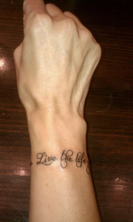 tattoo lettering bracelet just finished quot live the life you love love the life you