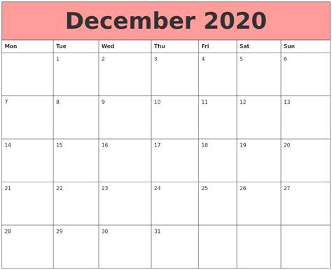 Calendar That Work December 2020 Calendars That Work
