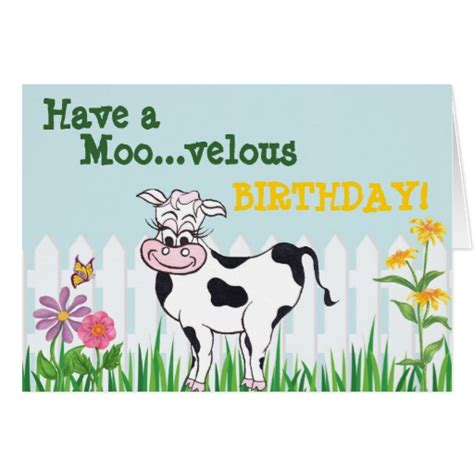 cow birthday card template happy birthday cow flowerscustomizable card zazzle