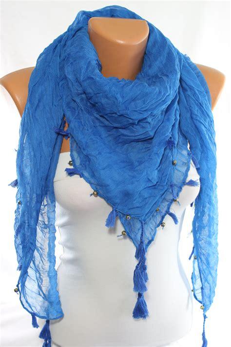 beaded scarf on sale blue scarf beaded scarf tassel scarf crinkle scarf
