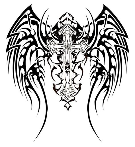 sampoerna poetra cross tattoos with wings for men