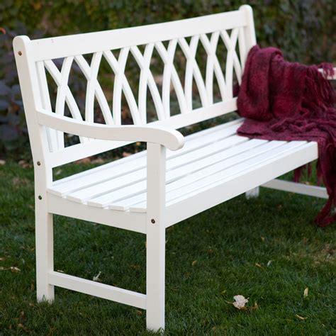 white wooden garden bench cunningham 5 ft painted wood garden bench white new