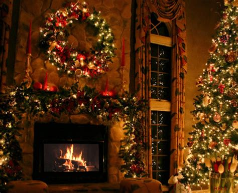 christmas tree and fireplace gifs find share on giphy
