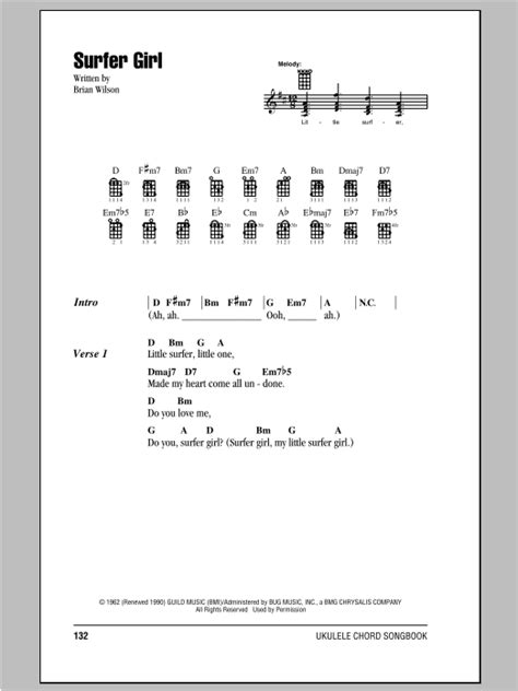 strumming pattern how you get the girl surfer girl sheet music by the beach boys ukulele with