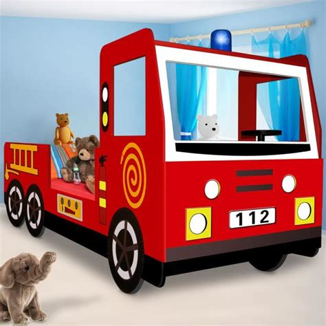lit enfant design camion pompier 205x94 5x103cm achat