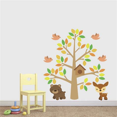 childrens tree wall stickers childrens woodland tree with animals wall sticker by