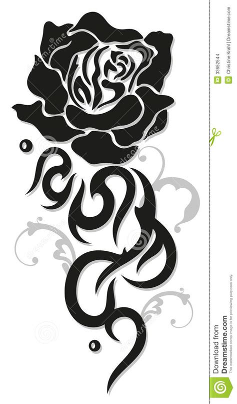 tribal black rose tattoo flowers border stock vector illustration of