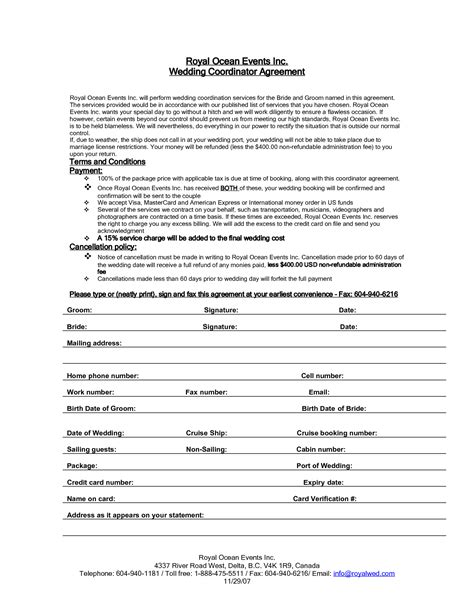 Wedding Planner Contract 7 best images of printable wedding planner contract