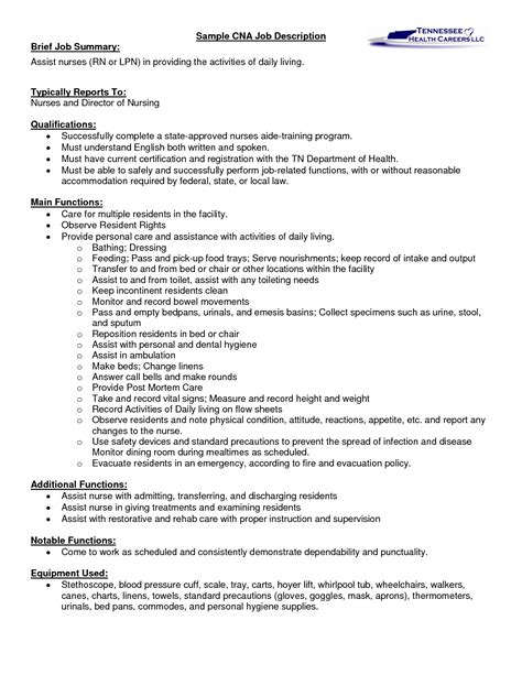 nursing assistant resume job description 1 - Nurse Assistant Resume